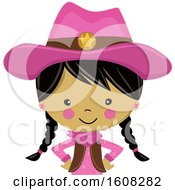 Clipart Of A Happy Asian Cowgirl With Braids And A Pink Outfit From The Belly Up Royalty Free Vector Illustration by peachidesigns