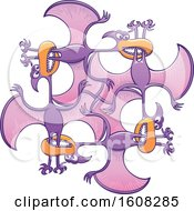 Clipart Of A Cartoon Circle Of Biting Purple Pterodactyls Royalty Free Vector Illustration