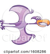 Clipart Of A Cartoon Flying Purple Pterodactylus Royalty Free Vector Illustration