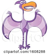 Clipart Of A Cartoon Purple Pterodactylus Flying Royalty Free Vector Illustration