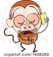 Clipart Of A Cartoon Chatty Monkey Talking On A Smart Phone Royalty Free Vector Illustration by Zooco