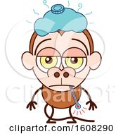 Clipart Of A Cartoon Sick Monkey Royalty Free Vector Illustration