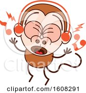 Clipart Of A Cartoon Singing Monkey Royalty Free Vector Illustration by Zooco