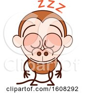 Clipart Of A Cartoon Sleeping Monkey Royalty Free Vector Illustration