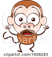 Clipart Of A Cartoon Surprised Monkey Royalty Free Vector Illustration by Zooco