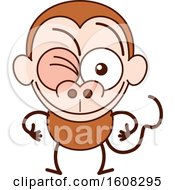 Clipart Of A Cartoon Winking Monkey Royalty Free Vector Illustration by Zooco