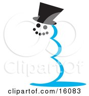Snowman With Coal Eyes And Mouth Wearing A Hat Clipart Illustration