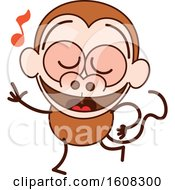 Clipart Of A Cartoon Dancing Monkey Royalty Free Vector Illustration