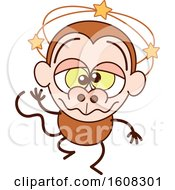 Clipart Of A Cartoon Dizzy Or Drunk Monkey Royalty Free Vector Illustration