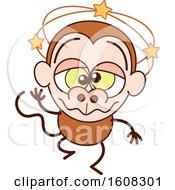 Cartoon Dizzy Or Drunk Monkey