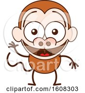 Clipart Of A Cartoon Waving Monkey Royalty Free Vector Illustration