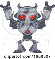 Red Eyed Heavy Metal Music Loving Robot Gesturing Devil Horns