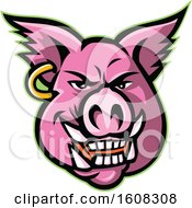 Clipart Of A Pink Pig Mascot Face With An Earring Royalty Free Vector Illustration