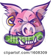 Pink Pig Mascot Face With An Earring And A Pickle In His Mouth