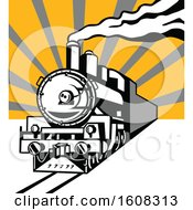 Clipart Of A Retro Steam Engine Train With Sun Rays Royalty Free Vector Illustration