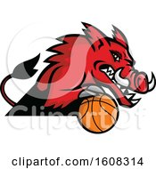 Clipart Of A Tough Red Boar Sports Mascot With A Basketball Royalty Free Vector Illustration by patrimonio