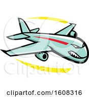 Clipart Of A Tough Jump Jet Airplane Mascot In Flight Royalty Free Vector Illustration
