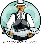Retro Black Male Fishmonger Holding A Salmon In A Circle