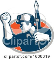 Clipart Of A Retro Male Coal Miner Holding Up A Fist And A Fountain Pen In An Oval Royalty Free Vector Illustration