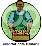 Clipart Of A Black Male Grocer Holding A Basket Of Fresh Produce In A Creen Circle Royalty Free Vector Illustration by patrimonio