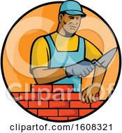 Clipart Of A Black Male Mason Laying Bricks In An Orange Circle Royalty Free Vector Illustration by patrimonio