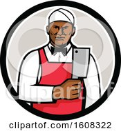 Clipart Of A Retro Black Male Butcher Holding A Meat Cleaver Knife In A Circle Royalty Free Vector Illustration