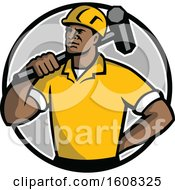 Retro Black Male Construction Demolition Worker With A Sledgehammer Over His Shoulder In A Circle