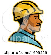 Profile Of A Black Male Construction Worker Wearing A Hard Hat