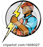 Clipart Of A Black Male Electrician Holding A Lightning Bolt In A Circle Royalty Free Vector Illustration