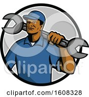 Clipart Of A Black Male Mechanic With A Giant Spanner Wrench Over His Shoulder In A Circle Royalty Free Vector Illustration