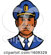 Clipart Of A Black Male Police Officer Facing Front Royalty Free Vector Illustration