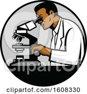 Clipart Of A Black Male Scientist Using A Microscope In A Laboratory Royalty Free Vector Illustration