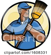 Black Male Street Cleaner Or Janitor Holding A Broom In A Circle