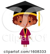 Clipart Of A Happy Black Girl Graduate Wearing A Mortar Board And Gown Royalty Free Vector Illustration