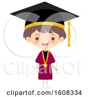 Clipart Of A Happy Graduate Kid Wearing A Mortar Board And Gown Royalty Free Vector Illustration