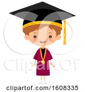Clipart Of A Happy White Graduate Wearing A Mortar Board And Gown Royalty Free Vector Illustration