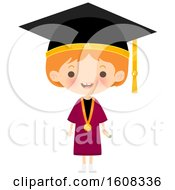 Clipart Of A Happy White Girl Graduate Wearing A Mortar Board And Gown Royalty Free Vector Illustration