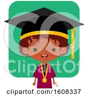 Clipart Of A Happy Black Girl Graduate Over Green Royalty Free Vector Illustration