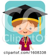 Clipart Of A Happy White Graduate Over Blue Royalty Free Vector Illustration