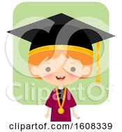 Clipart Of A Happy White Girl Graduate Over Green Royalty Free Vector Illustration