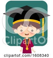 Clipart Of A Happy Graduate Kid Over Teal Royalty Free Vector Illustration by Melisende Vector