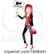 Clipart Of A Red Haired Real Estate Agent Holding A Sold Sign Royalty Free Vector Illustration