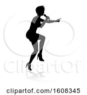 Clipart Of A Silhouetted Female Singer With A Reflection Or Shadow On A White Background Royalty Free Vector Illustration