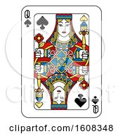 Clipart Of A Queen Of Spades Playing Card Royalty Free Vector Illustration by AtStockIllustration
