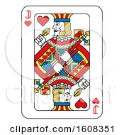 Clipart Of A Jack Of Hearts Playing Card Royalty Free Vector Illustration by AtStockIllustration