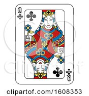 Clipart Of A Queen Of Clubs Playing Card Royalty Free Vector Illustration by AtStockIllustration