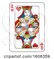 Clipart Of A Queen Of Hearts Playing Card Royalty Free Vector Illustration by AtStockIllustration