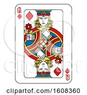 Clipart Of A Queen Of Diamonds Playing Card Royalty Free Vector Illustration by AtStockIllustration