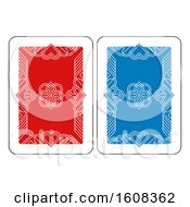 Clipart Of A Playing Card Reverse Back In Red And Blue Royalty Free Vector Illustration