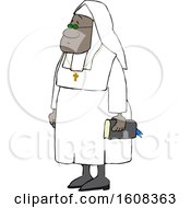 Cartoon Black Nun Carrying A Bible And Wearing A Cross Around Her Neck